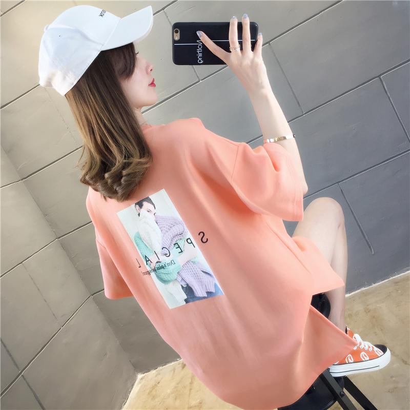 实拍2019夏款棉质不下架网红同款韩版宽松短袖中长t恤女上衣