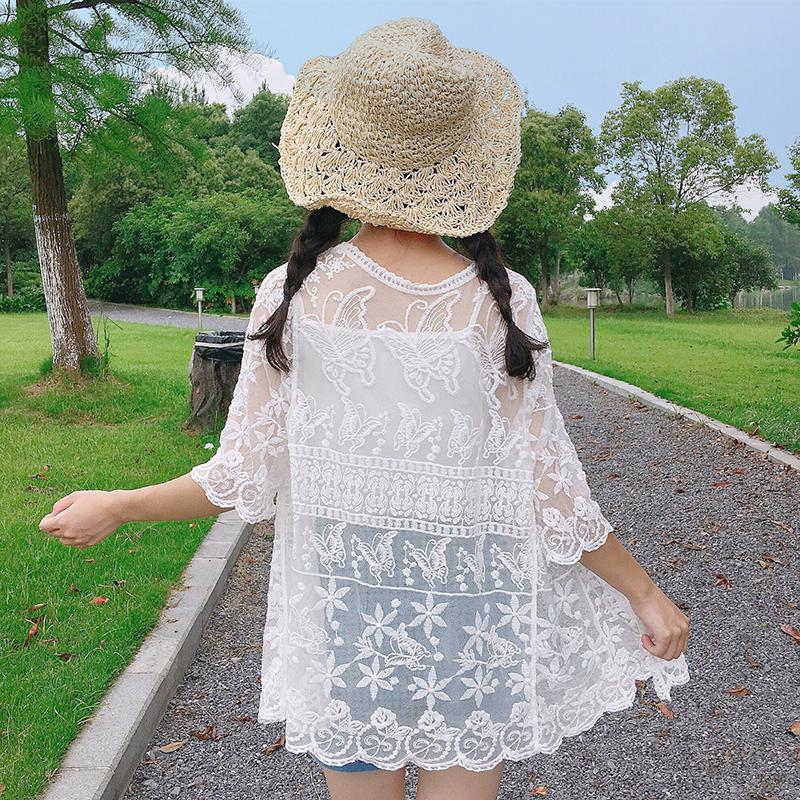 沙灘短款系帶蕾絲開衫防曬衣女夏鏤空罩衫度假外搭披肩空調衫外套