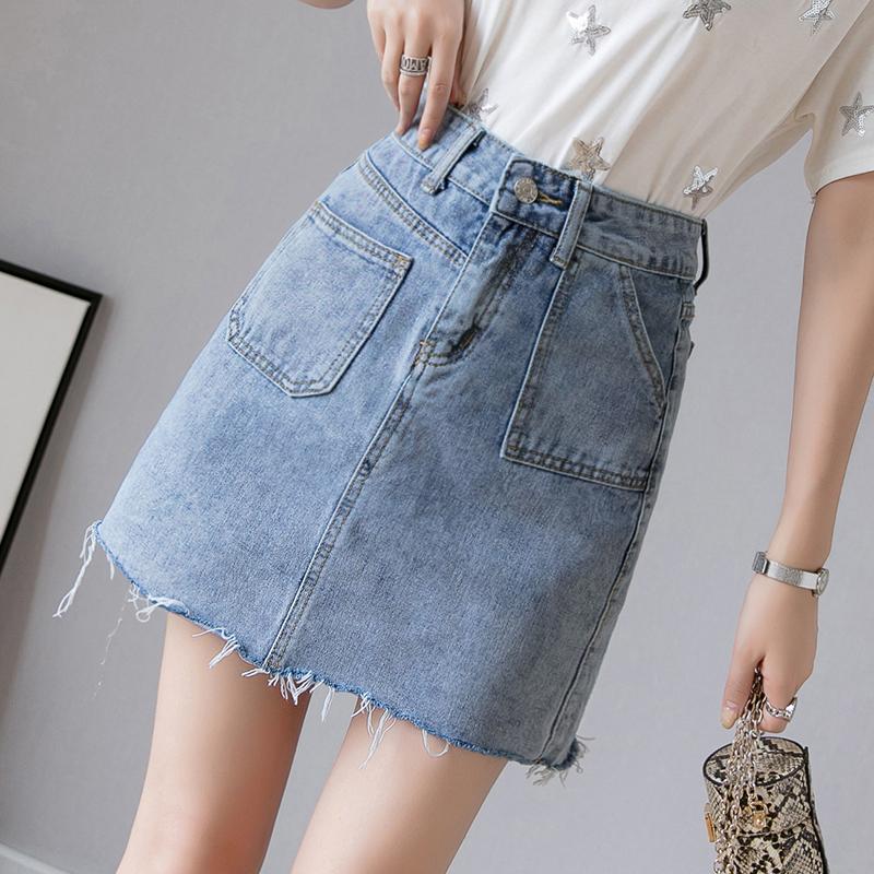 牛仔短裙女夏季2019新款韓版高腰半身裙A字裙修身包臀裙ins學生