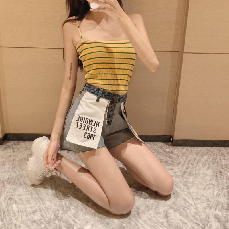 实拍实价 控价39 2019夏季新款做旧反面牛仔短裤个性拼色贴布热裤