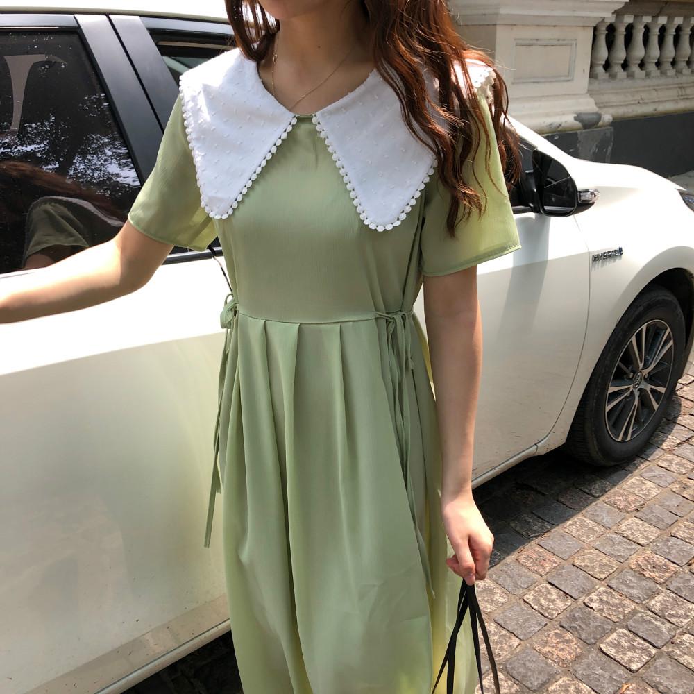 控價5 實拍實價韓版新款收腰系帶短袖娃娃領連衣裙chic長裙