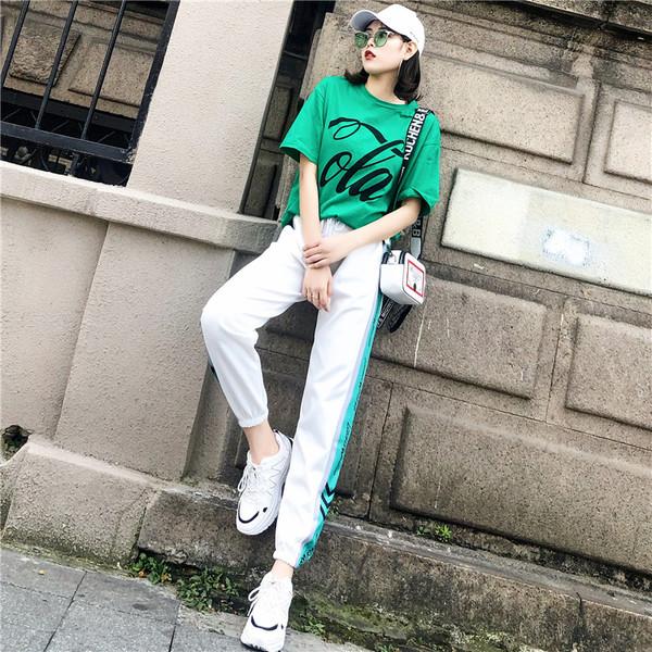 嘻哈運動休閑套裝夏怪味少女2019新款港味網紅寬松時尚兩件套潮牌