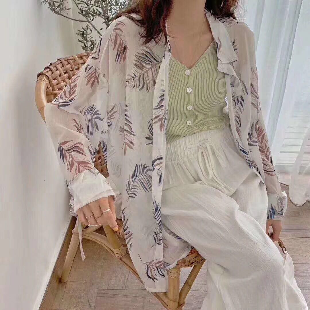여름 2019 느슨한 야생 얇은 달콤한 꽃 셔츠 여자 셔츠 자외선 차단제 셔츠의 새로운 한국어 버전 작은 신선한