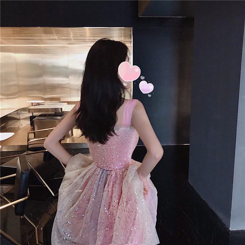 实拍实价 控价63 很仙的法国小众粉色彩虹网纱亮片甜美连衣裙