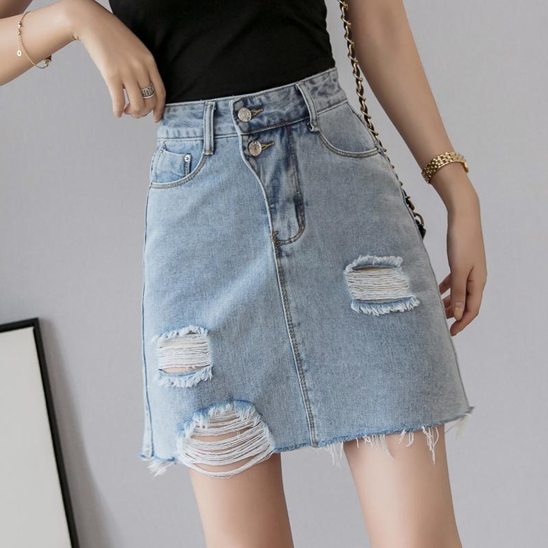 牛仔短裙夏季女2019新款韓國高腰學生a字半身裙修身顯瘦包臀裙潮