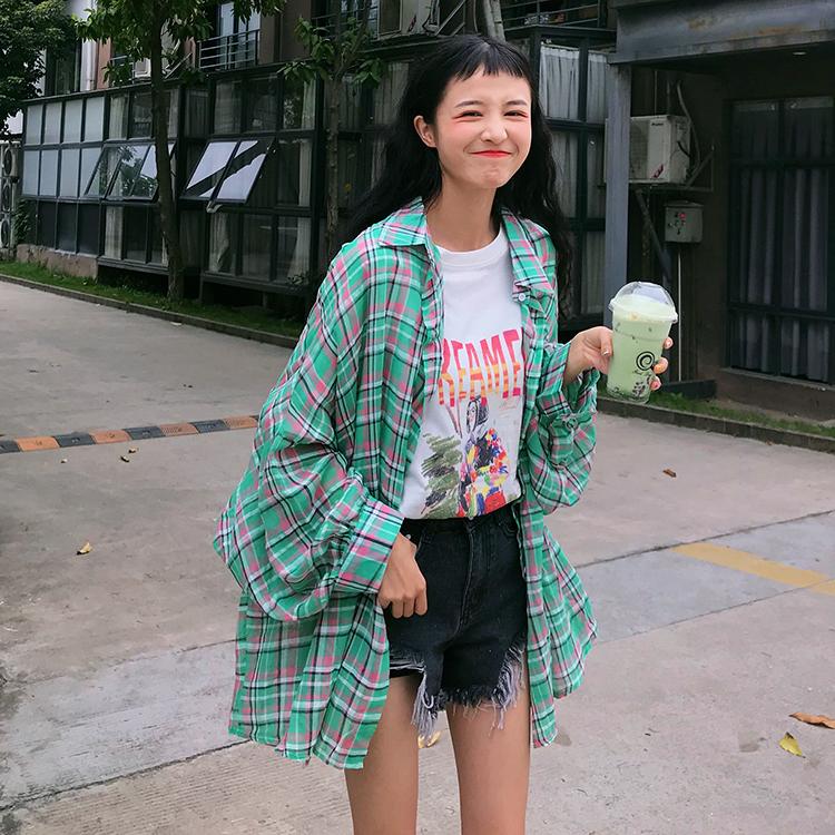實拍實價加5港味格子襯衫女韓版寬松長袖襯衣設計感小眾上衣