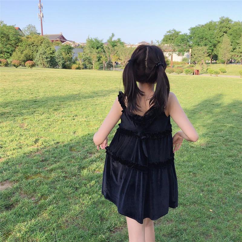 实拍实价 控价42-45 暗黑系连衣裙闺蜜装 丝绒还是雪纺新款吊带裙