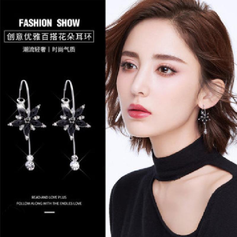 韓國氣質黑珠流蘇耳圈簡約五瓣花朵耳環甜美百搭耳飾女源頭廠家