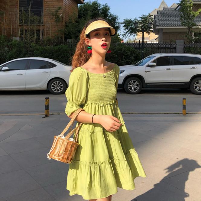 控价5 实拍?#23548;?#26032;款抹茶绿连衣裙裙显瘦小个子网红时尚超?#23578;?#28165;新
