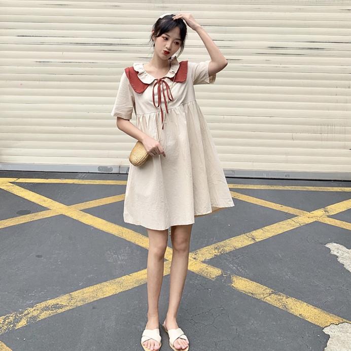 控價5實拍實價韓版甜美木耳邊拼色領連衣裙