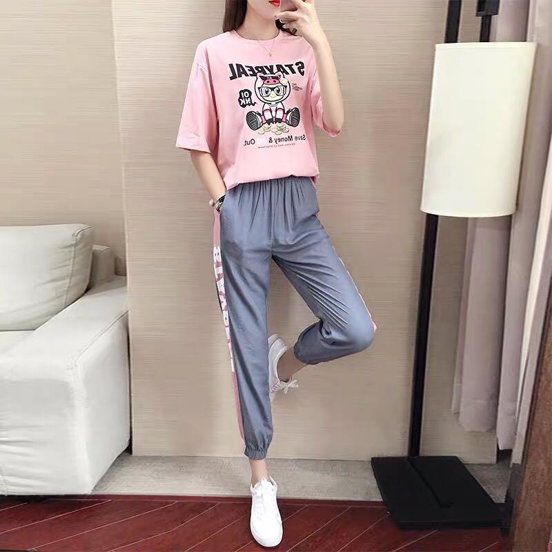 休閑寬松套裝女2019新款韓版夏時尚顯瘦短袖兩件套裝潮洋氣T恤