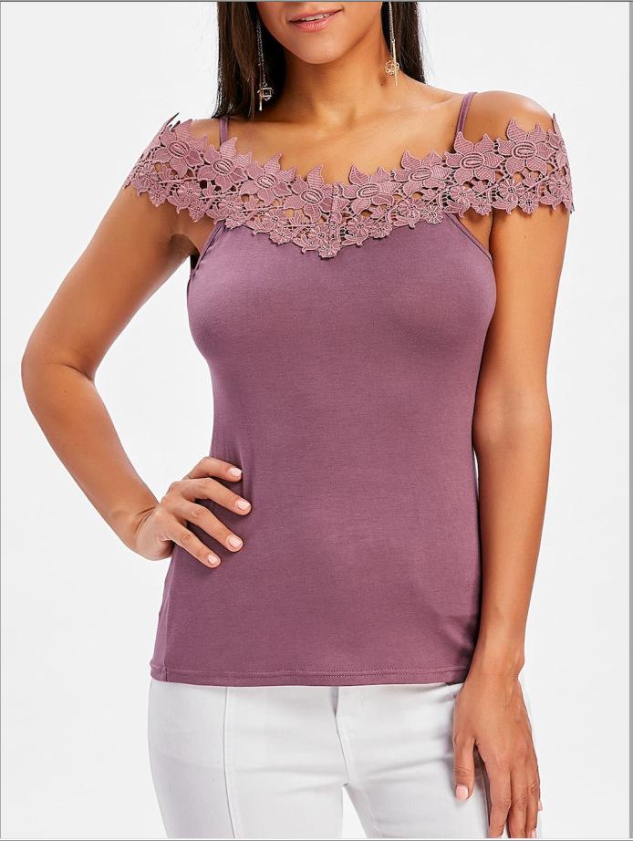 欧美外贸新款速卖通亚马逊eBay爆款蕾丝拼接无袖挂脖女士背心T恤