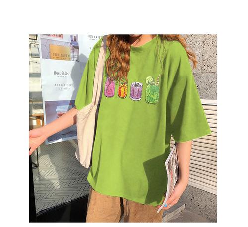 官图 学生圆领短袖t恤夏季新款韩版chic百搭休闲印花T恤女