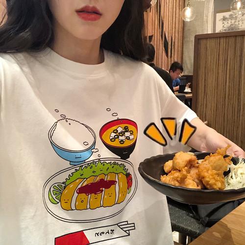 官图#2019春夏新款个性印花趣味菜肴套头圆领短袖宽松百搭T恤