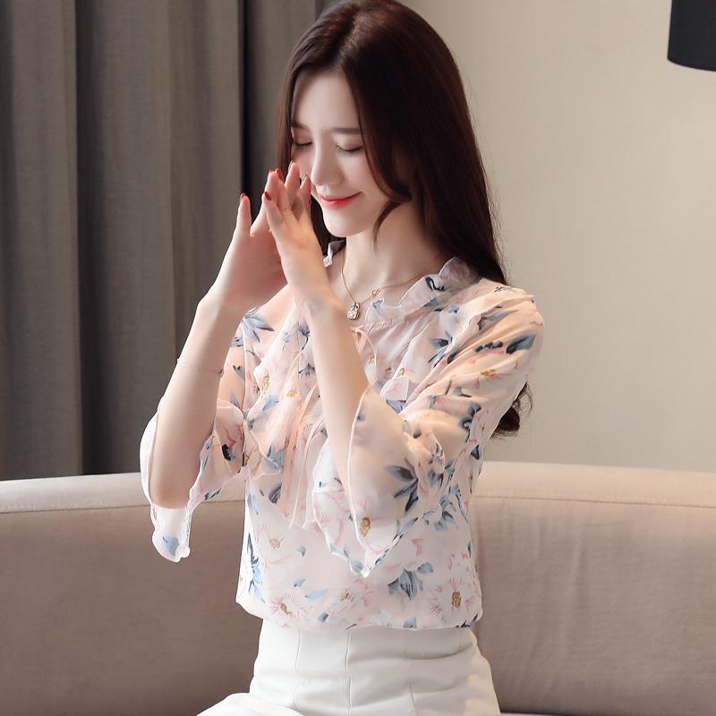 实拍~2019夏季新款蝴蝶结系带仙气雪纺衫喇叭袖七分袖衬衫韩版女