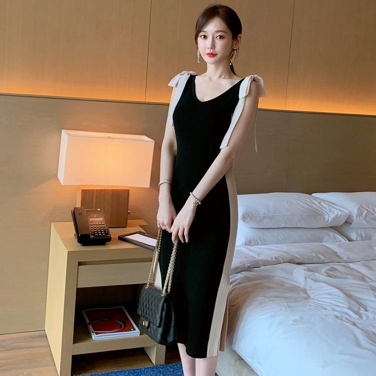 韩国东大门女装19夏装新款洋气甜美修身大圆领针织开叉连衣裙