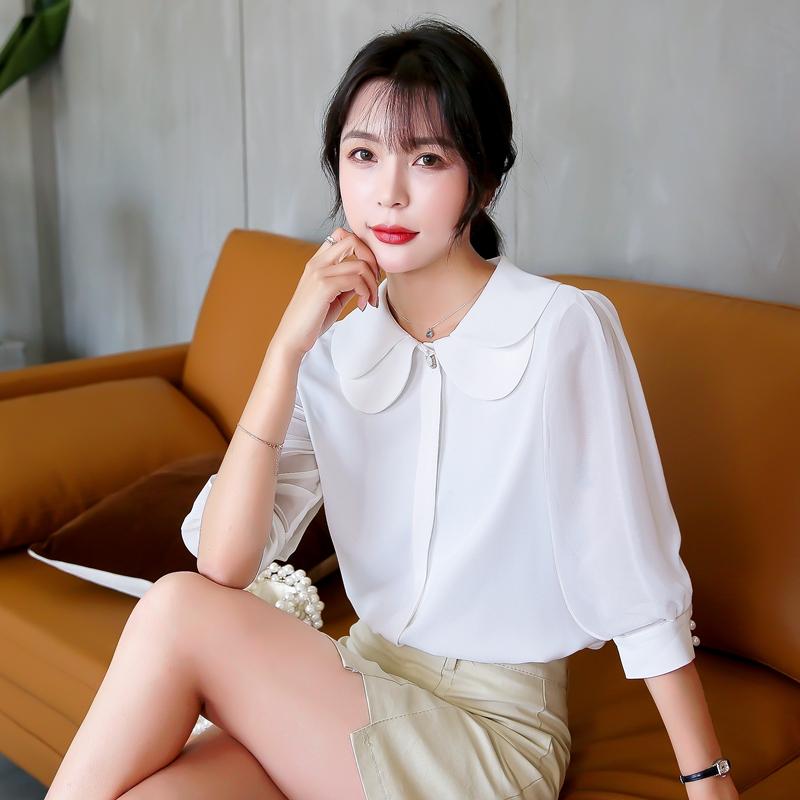 实拍白色雪纺衬衫女娃娃领欧货时尚宽松洋气衬衣2019新款夏季