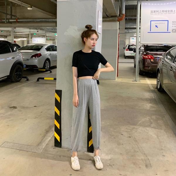 夏季女裝兩件套2019新款韓版短袖T恤+運動休閑褲網紅套裝
