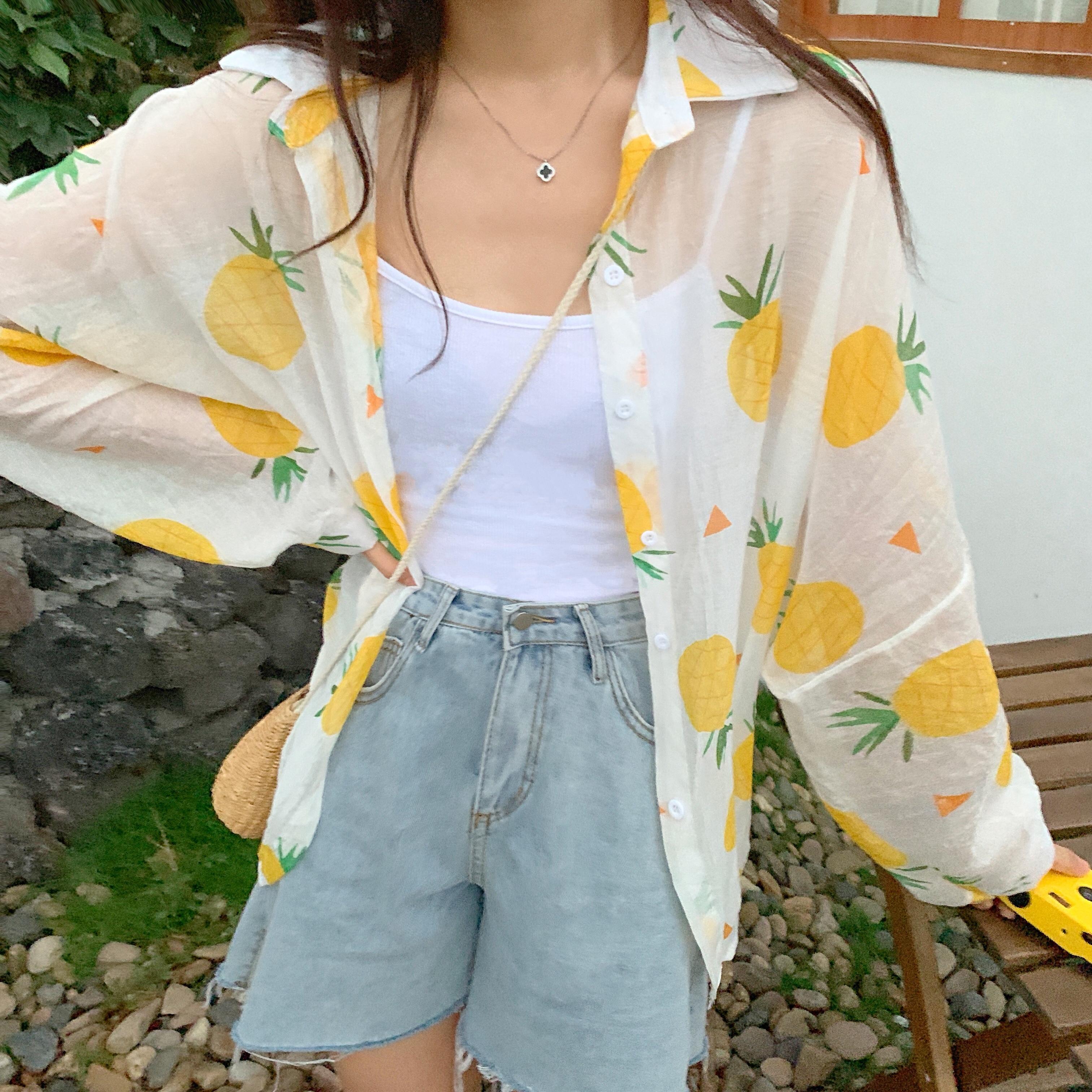 现货实拍~韩风学院风菠萝水果防晒衣雪纺衬衫中长款薄外套女夏天