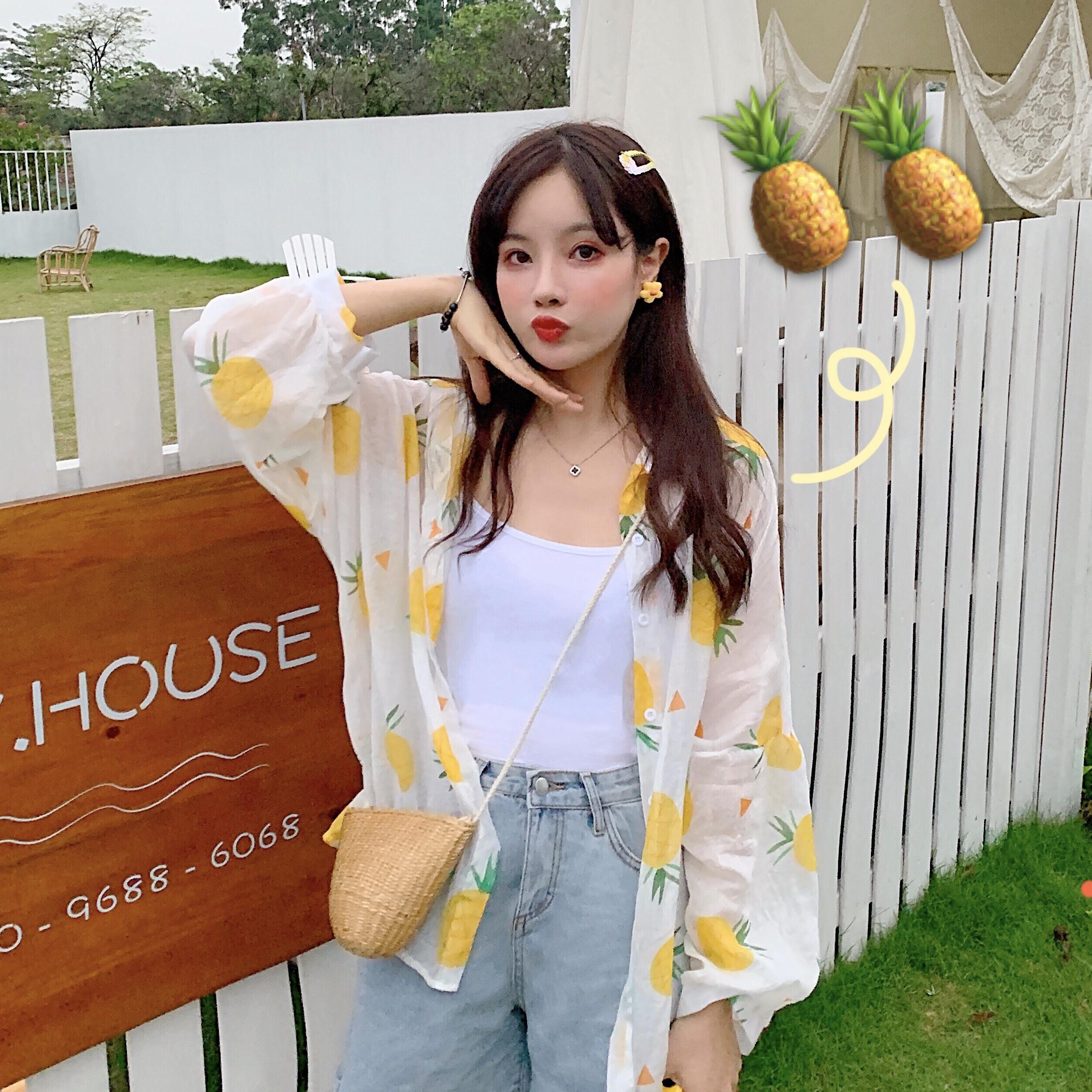 现货实拍~韩版学院小清新菠萝水果薄外套防晒衣中长款雪纺衬衫女