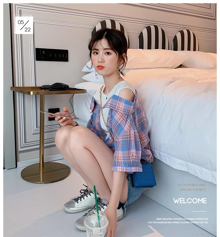 心机短袖设计感超仙女假两件衬衫2019夏装露肩衬衣韩版宽松上衣潮