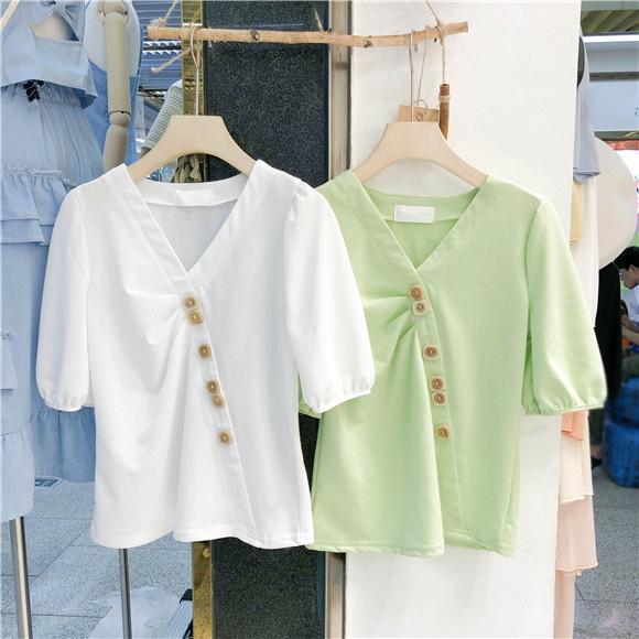 2019韩国夏装新款时尚纯色V领短袖T恤女小清新宽松显瘦休闲上衣潮