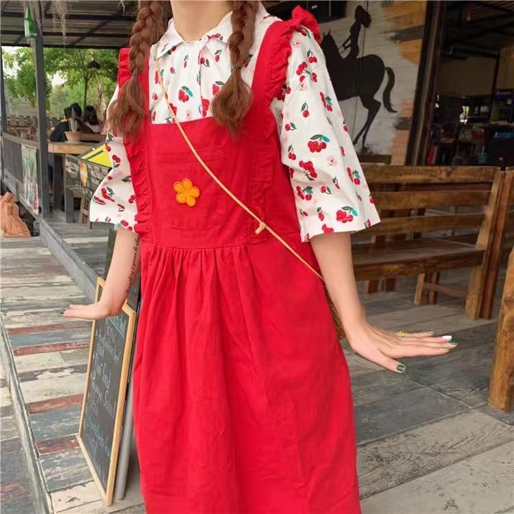 夏季新款 韩版樱桃衬衫+可爱小花背带连衣裙 两件套