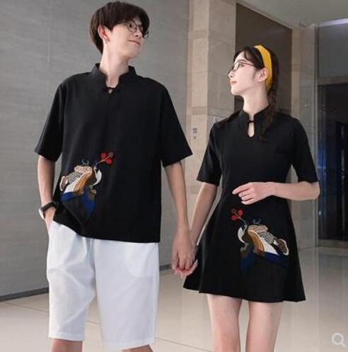 新款民族风刺绣连衣裙刺绣男T短裤情侣套装