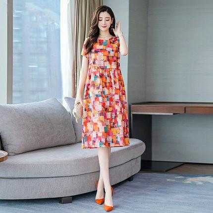 棉麻连衣裙2019新款夏季时尚短袖女装宽松大码遮肚苎麻碎花长裙子