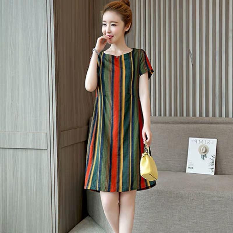 2019夏季新款女装彩条纹连衣裙大码妈妈韩版宽松显瘦短袖中长款