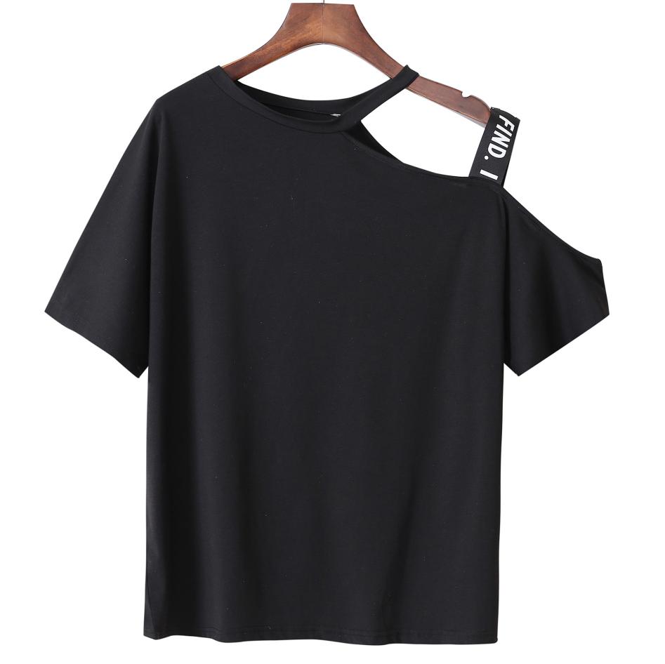 2019夏欧美外贸速卖通亚马逊ebay新款织带印花T恤露肩短袖上衣