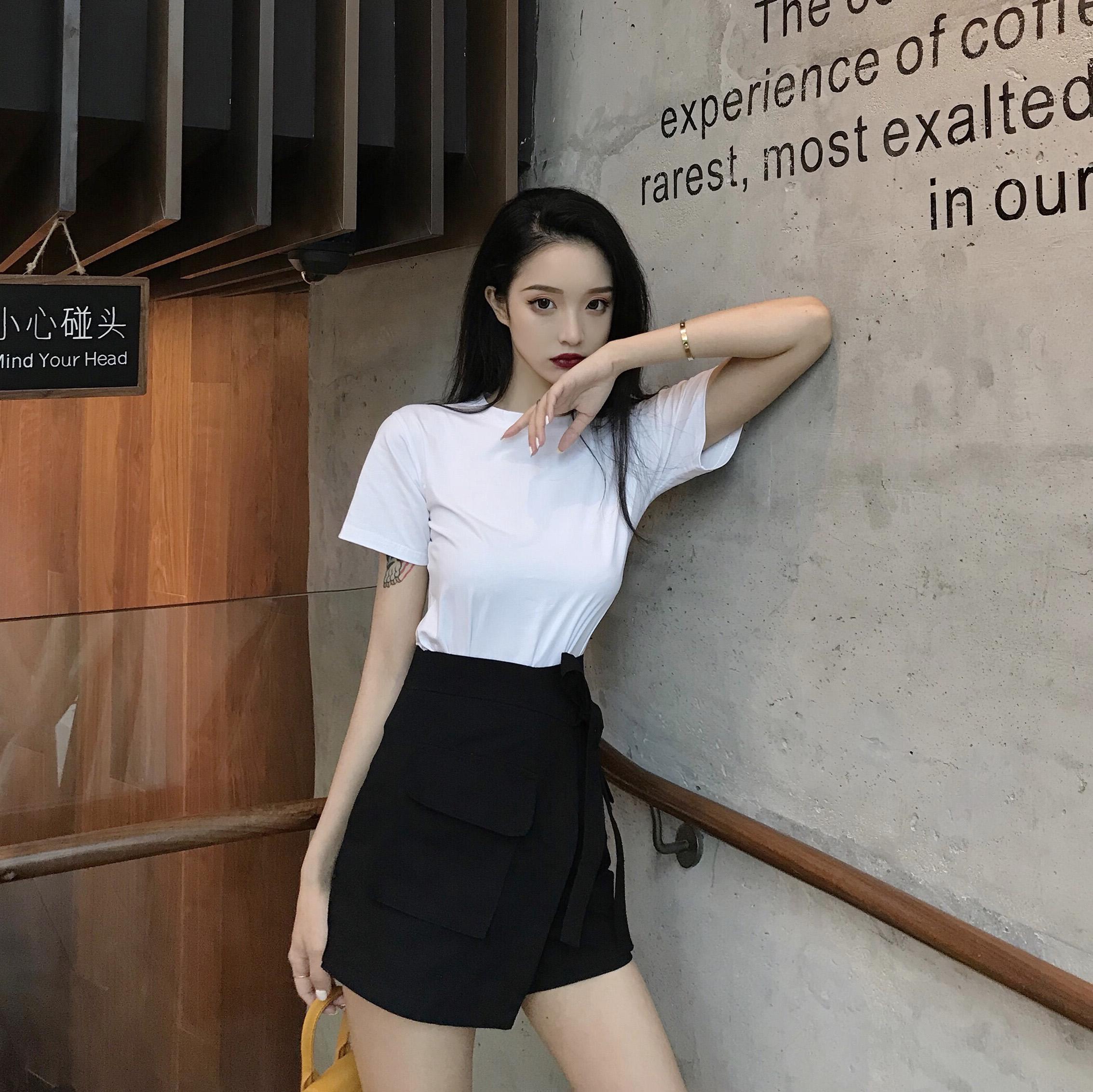 实拍 控+5港味高腰不规则口袋绑带裤裙半身裙短裤女