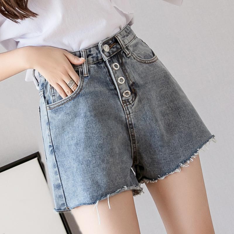 短褲女夏2019新款寬松牛仔短褲顯瘦學生牛仔褲高腰毛邊闊腿褲熱褲
