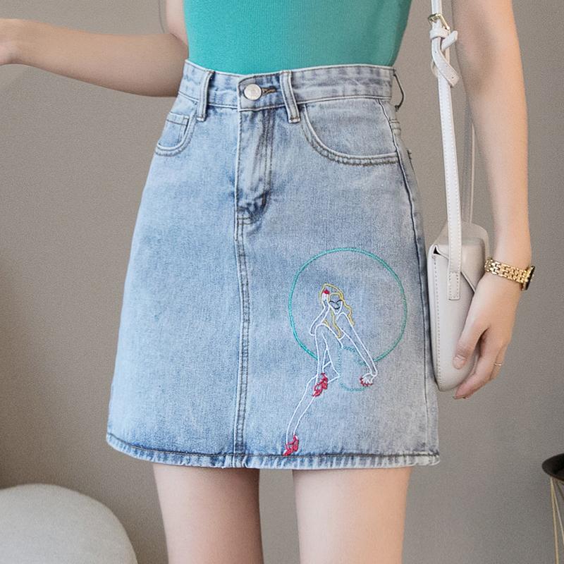 牛仔裙女高腰短裙2019夏季韓國新款修身a字半身裙不規則OL包臀臀