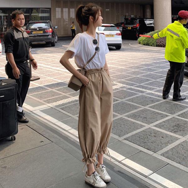 夏季網紅套裝女學生韓版純色休閑T恤女+寬松高腰九分束腳褲兩件套