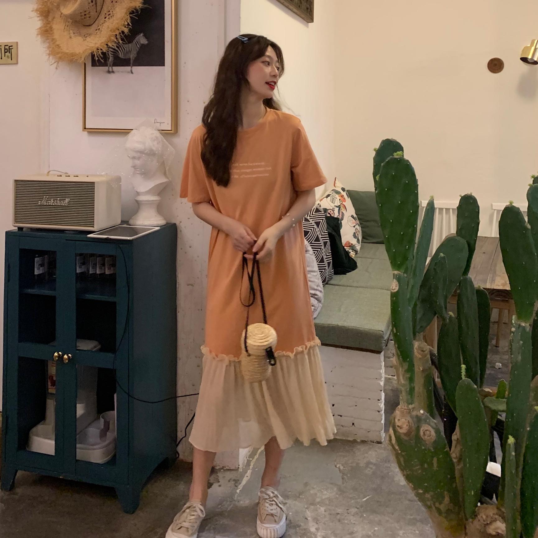 控價5 實拍實價新款韓版印花字母網紗拼接連衣裙