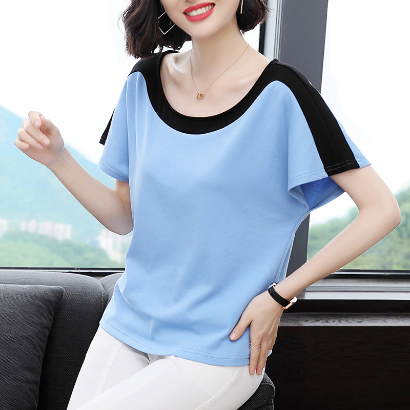 여름 CEC 반팔 여성 2019 새로운 셔츠 느슨한 숙녀 t- 셔츠 대형 사이즈 면화 어머니 반팔 셔츠