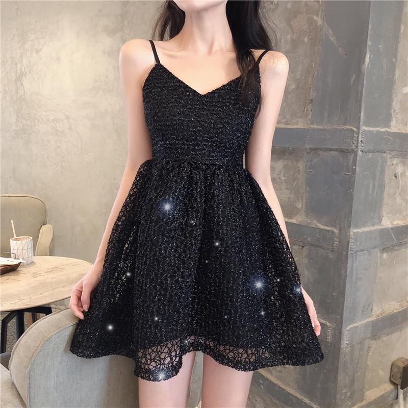實拍實價 控價39 夏新高腰蕾絲chic仙女顯瘦網眼鏤空連衣裙