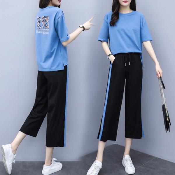 2019女裝時尚闊腿褲兩件套寬松顯瘦休閑運動服洋氣套裝女