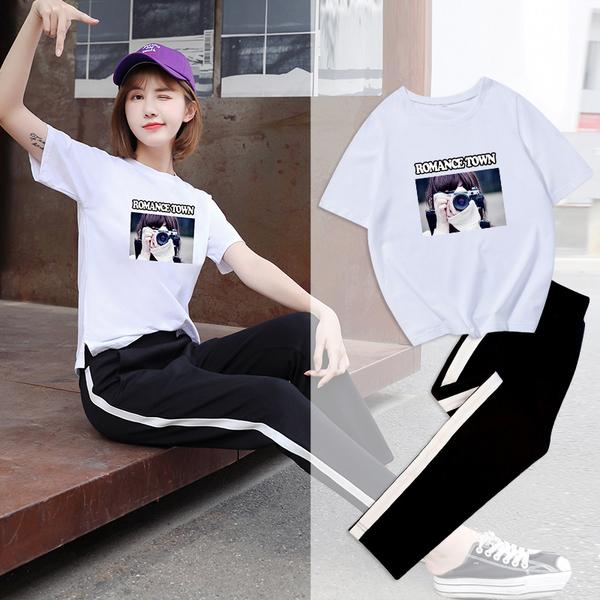 2019夏季新款時尚洋氣網紅t恤女九分褲運動套裝女寬松兩件套