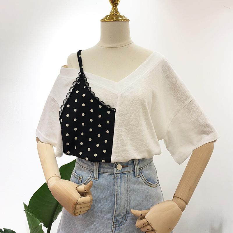 波点半吊带拼接V领露肩短袖T恤女夏装新款韩版宽松打底衫半袖上衣