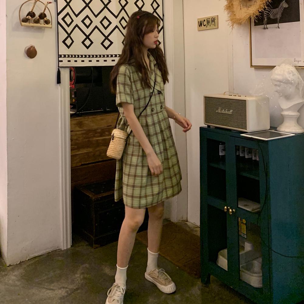 控價5實拍實價~韓版雙排扣格子百褶連衣裙