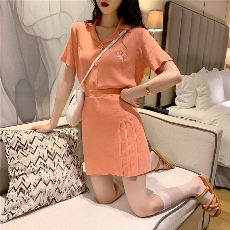 實拍實價 控價59 韓版針織套裝糖果色牛油果綠兩件套半身裙