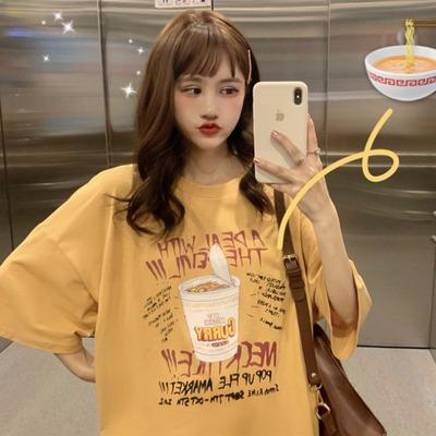 露背上衣女夏裝韓版半袖寬松顯瘦中長款超火cec短袖T恤