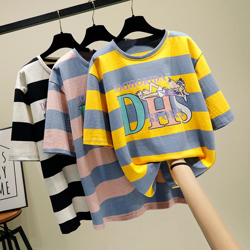 實拍百分百純棉不下架網紅同款韓版寬松條紋短袖t恤女上衣