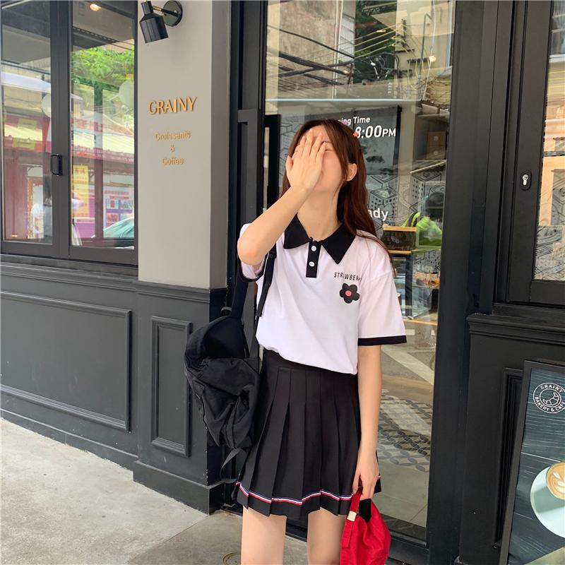 控價5實拍實價T恤女寬松POLO衫領帶短袖上衣+甜美百褶裙半身裙夏