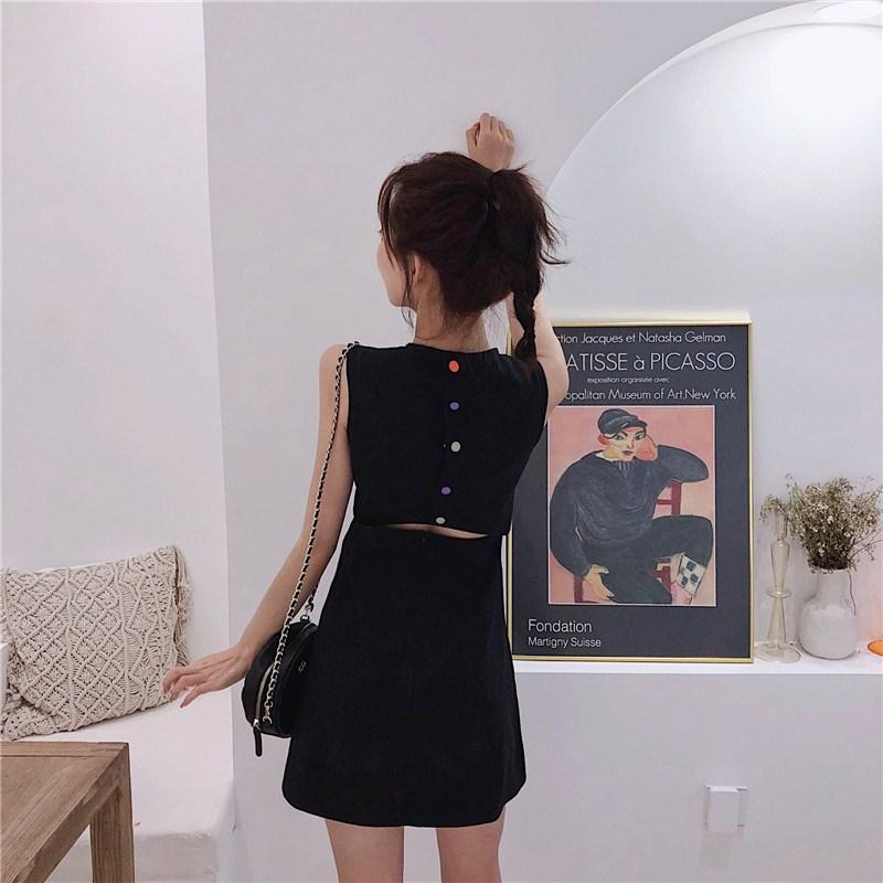 實拍實價 控價44元 后背彩色紐扣心機露腰連衣裙收腰顯瘦A字裙