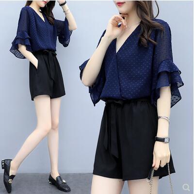 KTY12627#女装很仙的夏装两件套荷叶袖波点v领短款时尚洋气套装潮