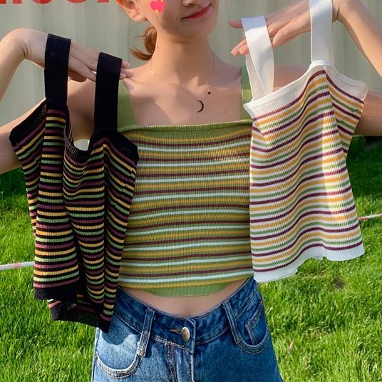 夏季彩色条纹显瘦彩虹针织吊带背心上衣