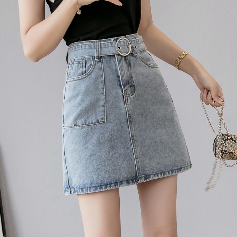 牛仔短裙女夏季高腰A字裙2019韓國新款港味腰帶半身裙包臀ins學生